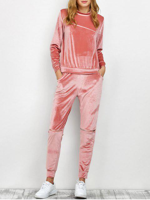 new Velvet Sweatshirt and Pants with Zipper - PINK L Mobile