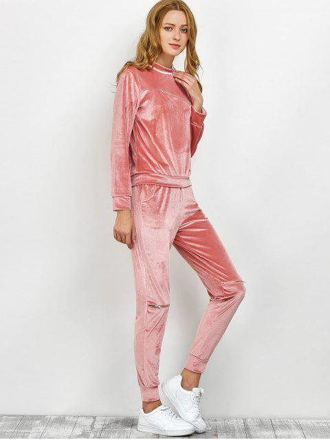 online Velvet Sweatshirt and Pants with Zipper - PINK XL Mobile
