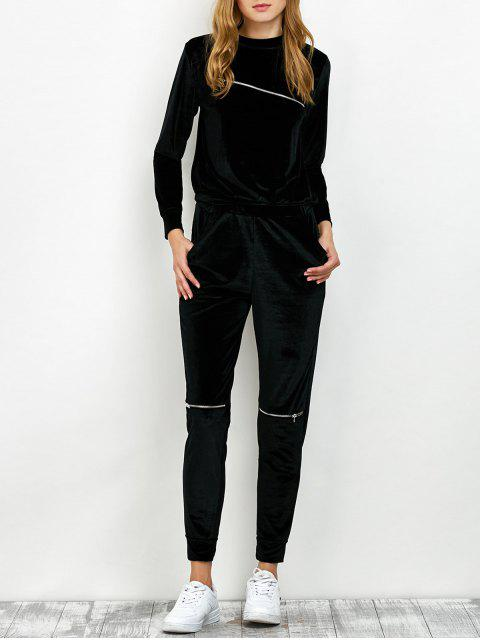 latest Velvet Sweatshirt and Pants with Zipper - BLACK S Mobile