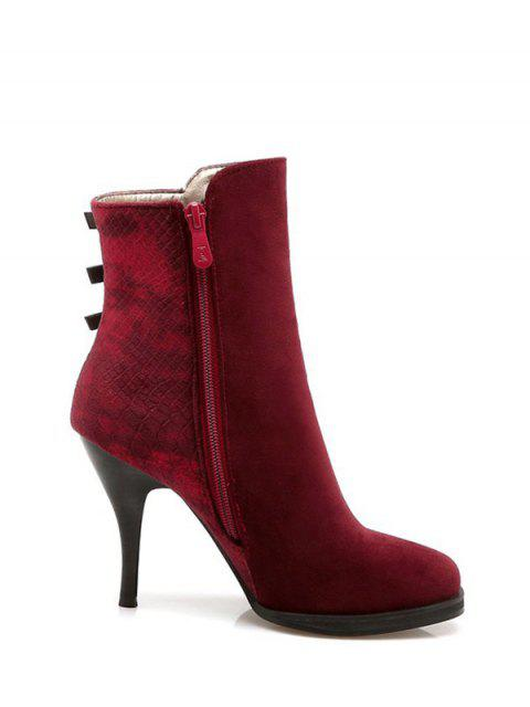 unique Zipper Metal Embossing Ankle Boots - BURGUNDY 37 Mobile