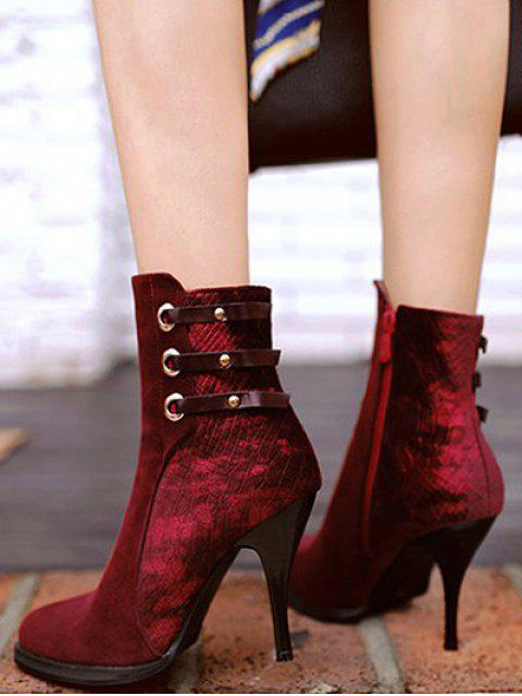 sale Zipper Metal Embossing Ankle Boots - BURGUNDY 38 Mobile