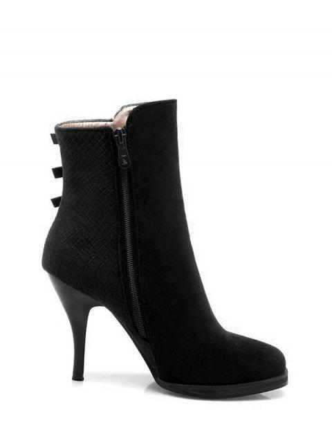 buy Zipper Metal Embossing Ankle Boots - BLACK 37 Mobile