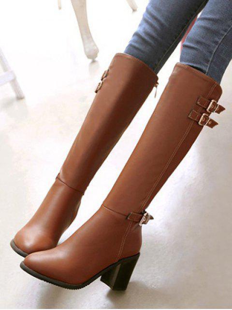 ladies Buckles Chunky Heel Zipper Boots - BROWN 38 Mobile