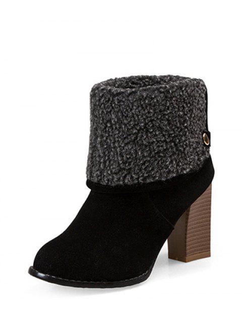 best Snaps Zipper Chunky Heel Short Boots - BLACK 37 Mobile