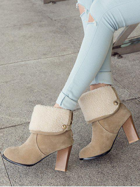 hot Snaps Zipper Chunky Heel Short Boots - LIGHT KHAKI 37 Mobile