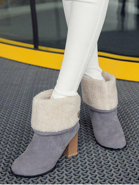 outfits Snaps Zipper Chunky Heel Short Boots - GRAY 39 Mobile