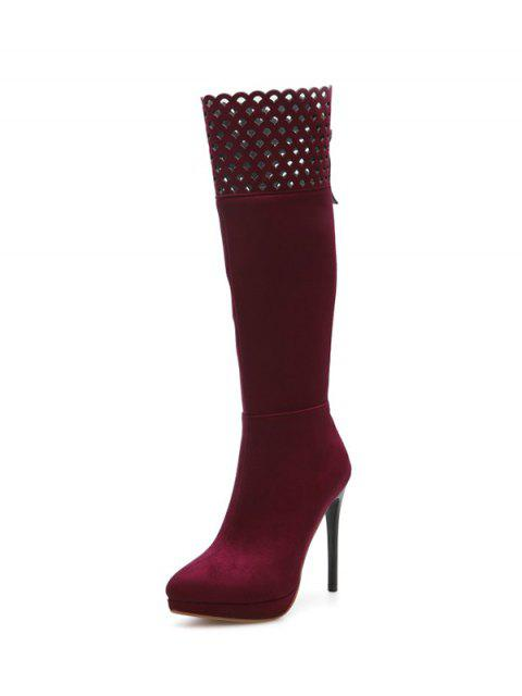 buy Hollow Out Zipper Platform Boots - BURGUNDY 38 Mobile