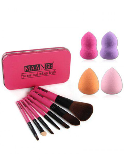 fancy 7 Pcs Makeup Brushes Set with Iron Box + Makeup Sponges -   Mobile