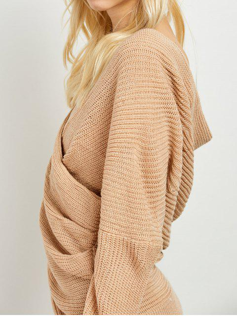 lady Wrap Front Sweater - KHAKI ONE SIZE Mobile