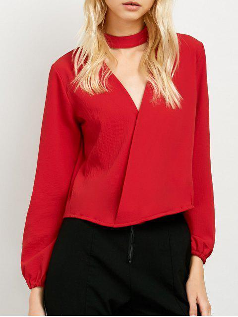 unique Long Sleeve Chiffon Surplice Choker Blouse - RED L Mobile
