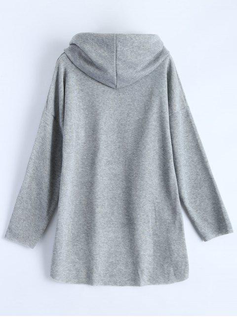 buy High-Low Tunic Hoodie - GRAY M Mobile