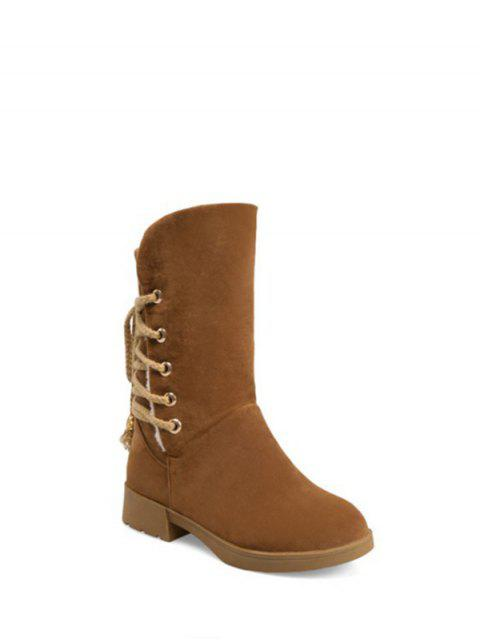 new Back Lace Up Mid Calf Snow Boots - BROWN 38 Mobile