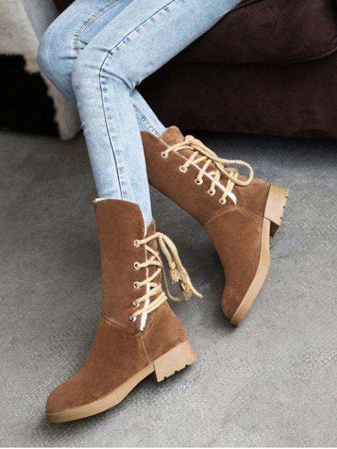 online Back Lace Up Mid Calf Snow Boots - BROWN 37 Mobile
