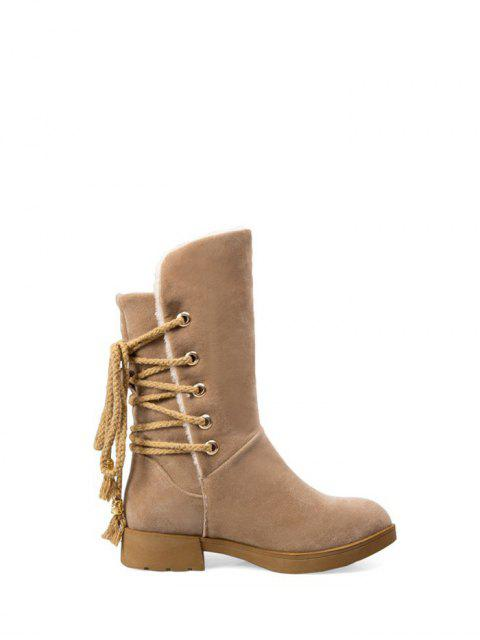 hot Back Lace Up Mid Calf Snow Boots - APRICOT 39 Mobile
