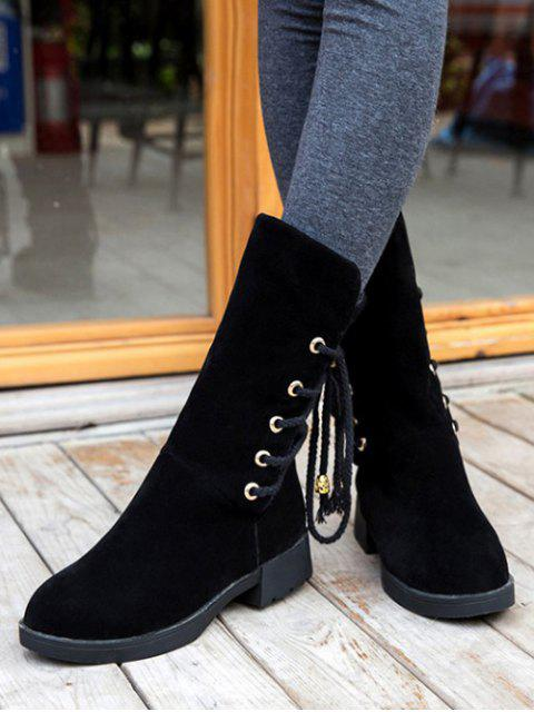 latest Back Lace Up Mid Calf Snow Boots - BLACK 38 Mobile