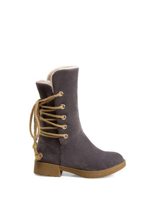 fashion Back Lace Up Mid Calf Snow Boots - GRAY 37 Mobile