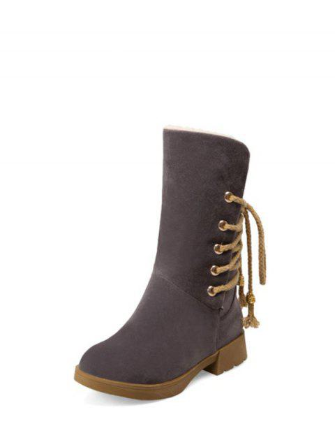 trendy Back Lace Up Mid Calf Snow Boots - GRAY 39 Mobile