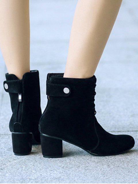 ladies Criss-Cross Mid Heel Suede Short Boots - BLACK 38 Mobile
