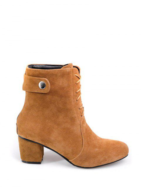 online Criss-Cross Mid Heel Suede Short Boots - BROWN 38 Mobile