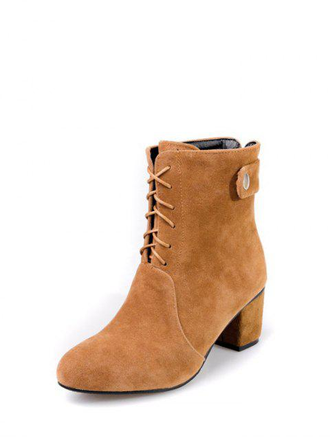 lady Criss-Cross Mid Heel Suede Short Boots - BROWN 39 Mobile