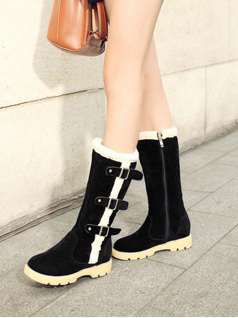 outfits Faux Shearling Panel Mid Calf Boots - BLACK 39 Mobile
