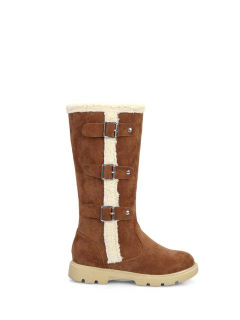 trendy Faux Shearling Panel Mid Calf Boots - BROWN 37 Mobile