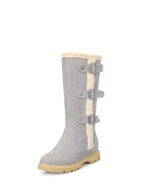 fancy Faux Shearling Panel Mid Calf Boots - GRAY 37 Mobile
