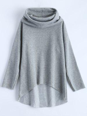 High-Low Tunic Hoodie - Gray S