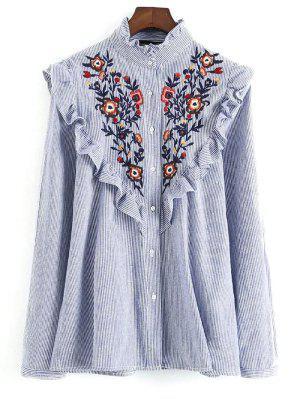 Bordado Bib Frilled Shirt - Azul E Branco S