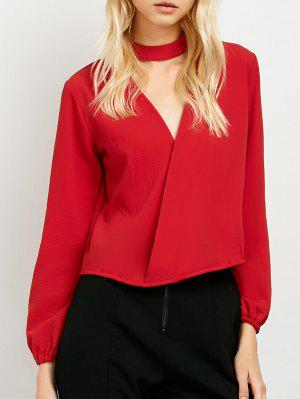 Long Sleeve Chiffon Surplice Choker Blouse - Red L