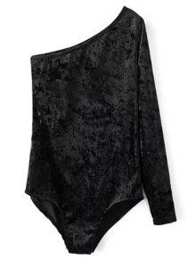 One Sleeve Velvet Skew Neck Bodysuit - Black S