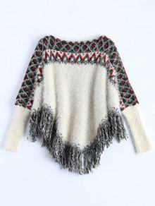Fluffy Batwing Sweater - White