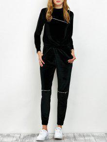 Sudadera De Terciopelo Y Pantalones Con Zipper  - Negro S