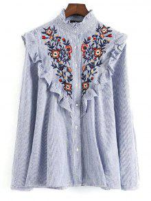 Embroidered Bib Frilled Shirt - Blue And White S