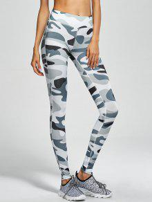 Camouflage High Waist Sport Pants - Army Green Camouflage S