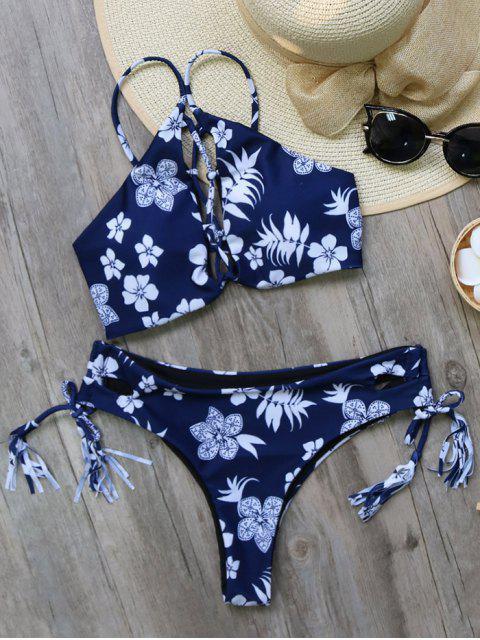 new Tassel Tie Printed Bikini Set - PURPLISH BLUE S Mobile