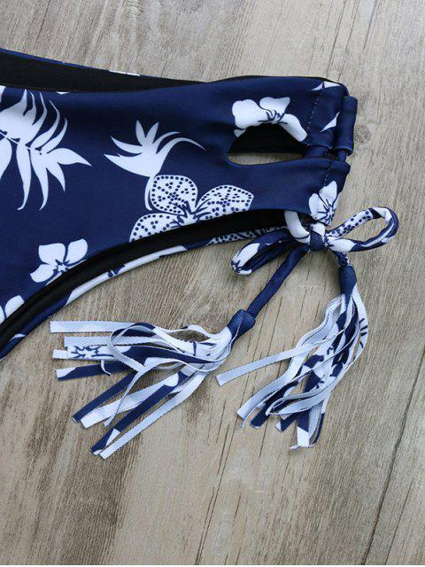 online Tassel Tie Printed Bikini Set - PURPLISH BLUE M Mobile