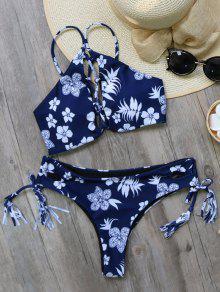 Lazo De La Borla Imprimió El Sistema Del Bikini - Azul Purpúreo L