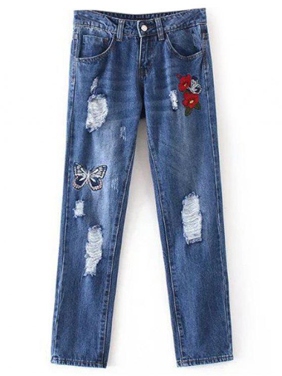 Zerstörte Jeans mit Schmetterlings Stickerei - Denim Blau M
