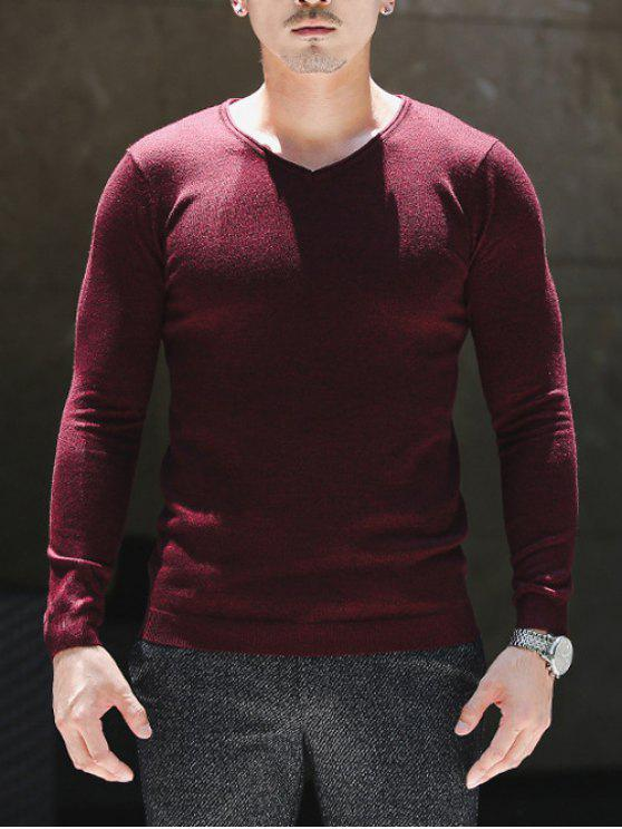 Suéter elástico com gola V - Vinho vermelho L