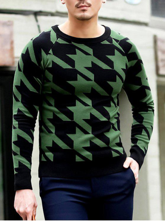 latest Slim Fit Round Neck Houndstooth Pullover Knitwear - GREEN M