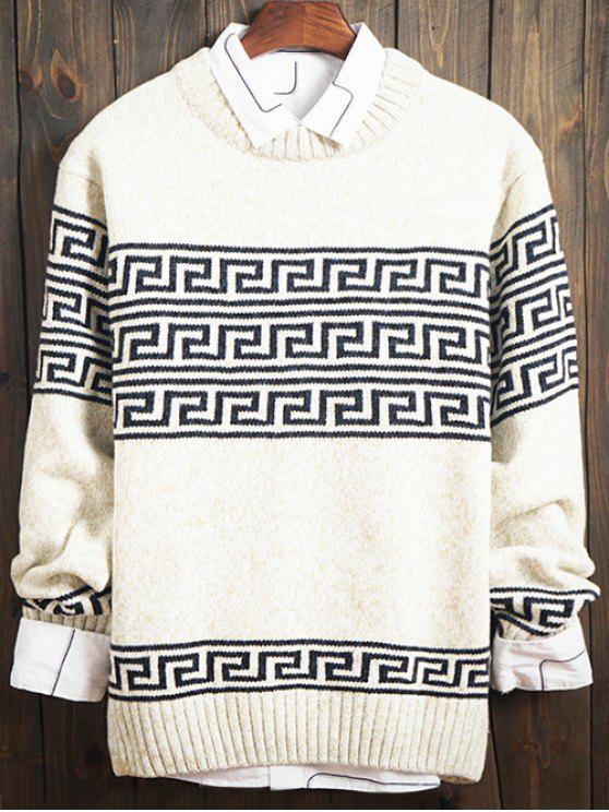 chic Curve Geometric Pattern Crew Neck Long Sleeve Sweater - WHITE L