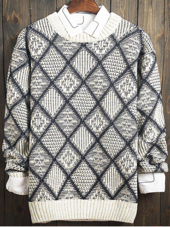 womens Argyle Pattern Crew Neck Long Sleeve Sweater - GRAY 2XL