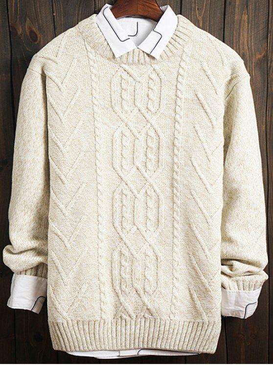 Setas Kink Design Grupo do pescoço camisola de manga longa - Branco XL