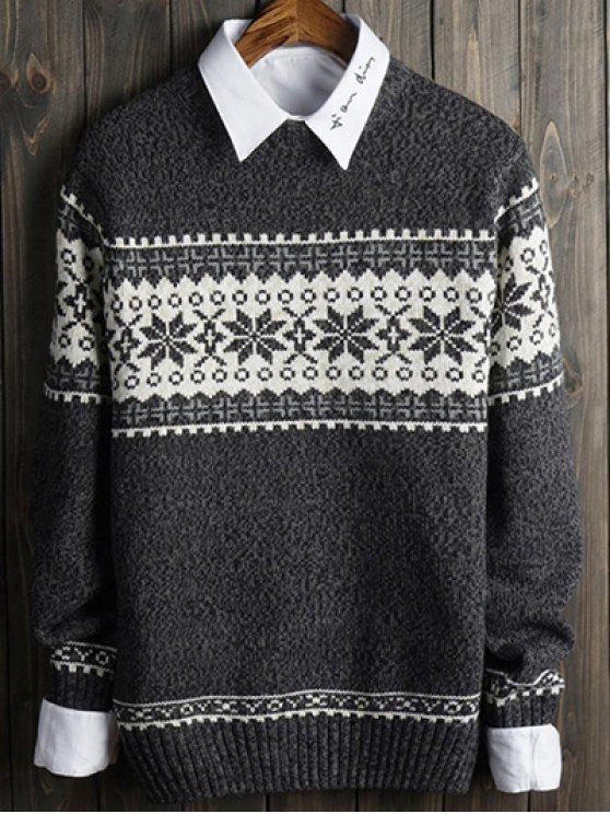 women Snowflake and Geometric Spliced Sweater - GRAY M