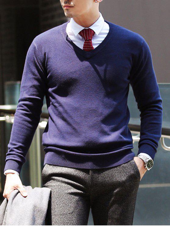 Camisola suéter gola V ajustada - Azul Escuro 2XL