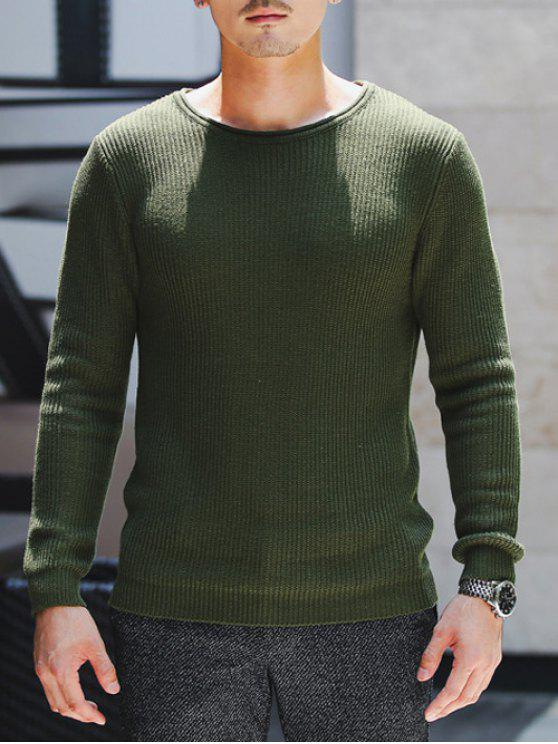 Girocollo a coste lavorato a maglia Pullover Maglione - Verde Dell'esercito XL