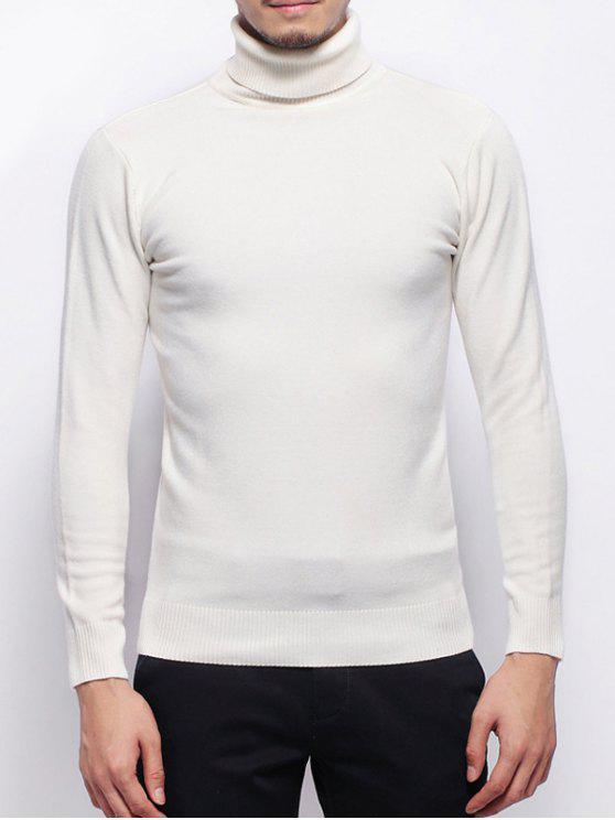 Stretchy Pullover Rollkragenpullover - Weiß XL
