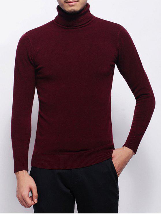 Stretchy Pullover Rollkragenpullover - Weinrot 2XL
