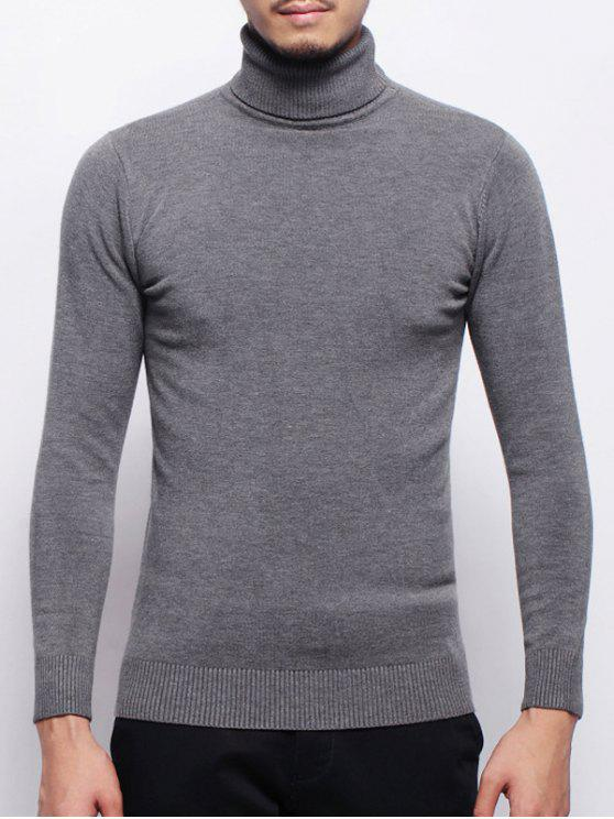 Suéter elástico com gola alta - Cinza M